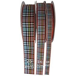 Anderson Tartan Ribbon, 1 metre long by 16mm Wide(Other Lengths+Widths available via dropdown menus)