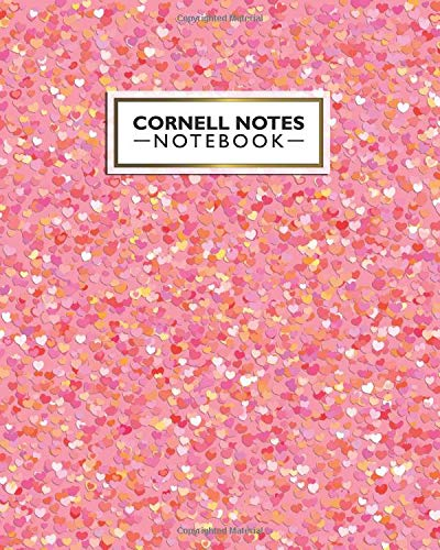 Cornell Notes Notebook: Nifty Large Cornell Note Paper Notebook. Cute College Ruled Medium Lined Journal Note Taking System for School and University - Funky Heart Confetti Print For Girls