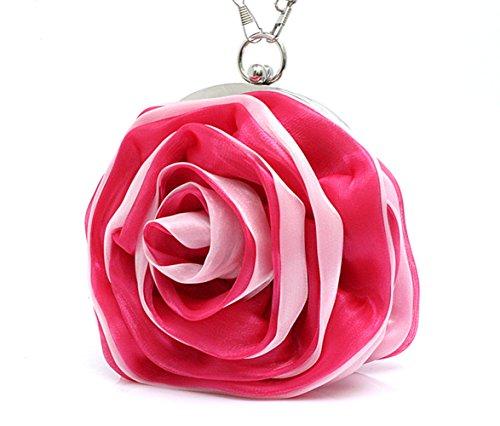 Eleoption, fiore di raso per borsetta Rosso (rosa)