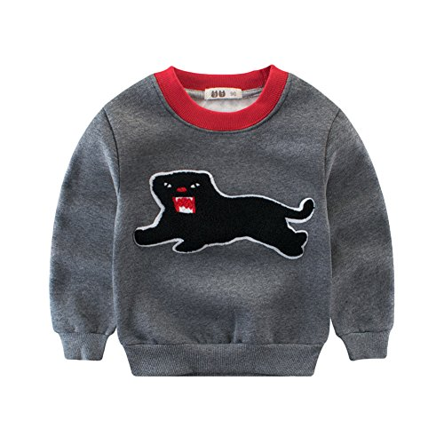 Bmeigo Kinder Sweatshirt Langarm Fleece Herbst T-shirt Winter Jumper (7-fleece-crewneck Top)