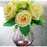 XPHOPOQ Flor artificial El Rosa JARDIN interiorParte Decoración bodas flores plástico amarillo