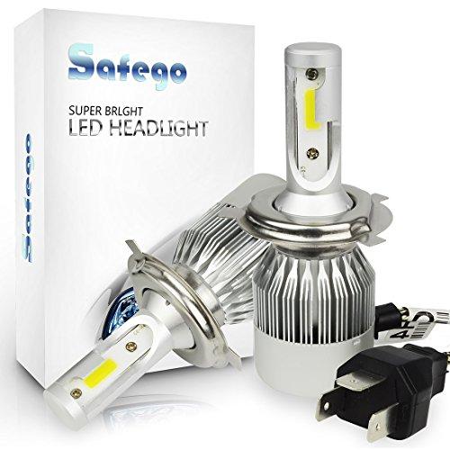 H4 LED Auto Scheinwerfer Birnen Kit - Safego Hi/Lo LED Licht Umbausatz 12v für Auto / KFZ / Fahrzeug Super hell Ersetzt Halogen oder HID Birne Lampen C6-H4