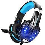 KOTION EACH PS4 Gaming Headset, PC Headset Auch für Xbox One & Laptop, 3.5mm Noise Cancelling Gaming Kopfhörer mit Mikrofon, Surround Sound System G9000 Blau (Blau)