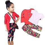 Xinan Mädchen Set Kleidung Kleinkind Mädchen Langarm T-Shirt Tops + Mantel + Hose Kleidung Outfits (6T, Rot)