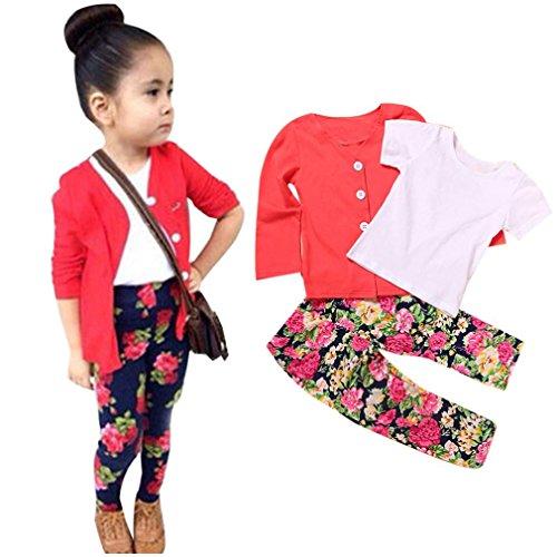 Xinan Mädchen Set Kleidung Kleinkind Mädchen Langarm T-Shirt Tops + Mantel + Hose Kleidung Outfits (5T, Rot) (Herz Adidas)