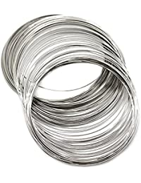 TOOGOO(R) 200pzs hilo de cuentas de memoria 70mm-75mm para pulsera diseno personalizado plata