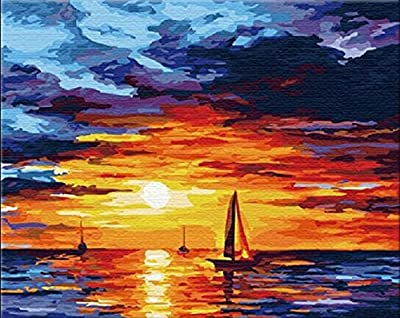 [ New Release ] Diy Oil Painting by Numbers, Paint by Number Kits - Sunset Clouds 16*20 inches - Digital Oil Painting Canvas Wall Art Artwork Landscape Paintings for Home Living Room Office Christmas Decor Decorations Gifts - Diy Paint by Numbers Diy Canv