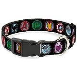 Buckle Down 9Avenger Ikonen schwarz/Multi Farbe Marvel Avengers Kunststoff Clip Halsband