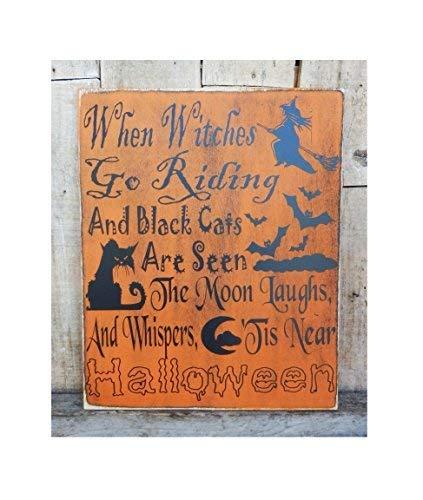 ld When Witches Go Riding 10 x 12 Halloween, Halloween, Hexen, Schwarze Katzen sind gesehen, Mond, Spruch, Heimdekoration, Wanddekoration, Wanddekoration, Geschenke. ()