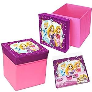Lot de 2 pouf de rangement tabouret pour enfant coffre à jouets pliable PRINCESS DISNEY 31X31x33cm neuf