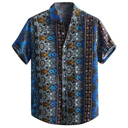 BHYDRY Herren Baumwolle gedruckt Hawaiian atmungsaktiv lässig Kurzarm lose Hemden(X-Large,Blau -