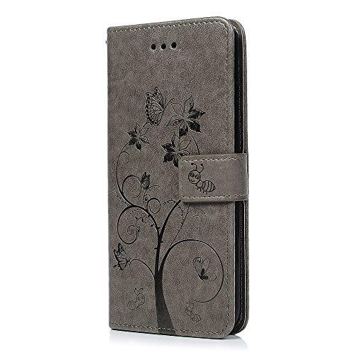 Badalink Hülle für iPhone 7 Plus / iPhone 8 Plus Lila Ameise Baum Handyhülle Leder PU Case Magnet Flip Case Schutzhülle Kartensteckplätzen und Ständer Handytasche mit Eingabestifte und Staubschutz Ste Grau