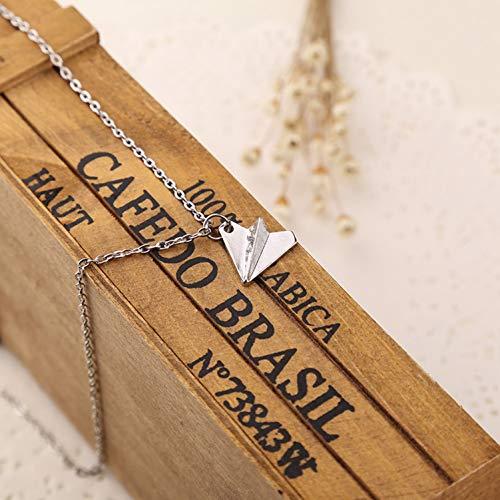 FyaWTM Halskette Choker 3D Origami Flugzeug Halsketten Schwarz Gold Silber überzogene Halskette einfaches Papier winzige Flugzeuge Flugzeug Harry Styles Schmuck (Flugzeug Winziges)