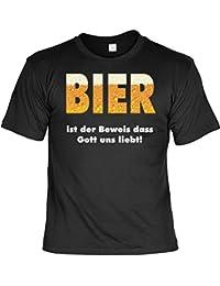 T-Shirt Funshirt - Bier ist der Beweis dass Gott uns liebt - Geschenk mit Urkunde mit Alkohol Humor - Farbe: schwarz