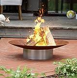 Fire Pit Hestia arrugginiscono in acciaio 58cm diametro Garden/patio riscaldatore con base in acciaio INOX