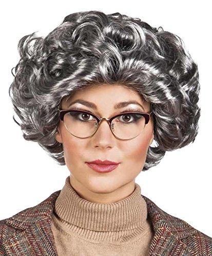 Kostüm Elizabeth Zubehör Queen - Oma Perücke Granny Lockenperücke Faschingsperücke grau