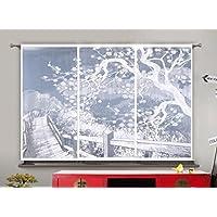 Set di 3pannelli di rete Sheer Finestra Tende Tende Zanzariera ciliegio Sakura–89