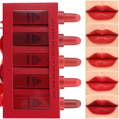 Igemy 5 Stk/Set Lippenstift Leicht Zu Tragen Langlebiger Wasserdicht Lippenstift (B)