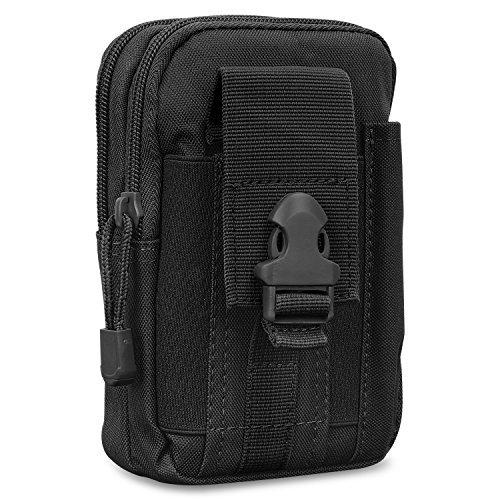 MoKo Taktische Hüfttaschen Molle Tasche, Mehrzweck Universal Outdoor Reißverschluss EDC Pouch Handy Armee Camo, iPhone XS/Xs Max/XR, Galaxy S10e/S10/S10 Plus - Schwarz
