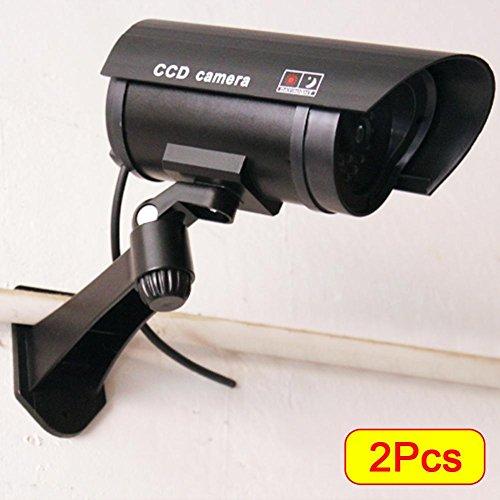 Amazingdeal365 2 x Outdoor Attrappe Fake LED blinkende Sicherheitskamera CCTV Überwachung