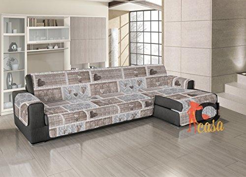 Salvadivano copridivano trapuntato per divani con penisola disegno shabby love 280-285 cm beige