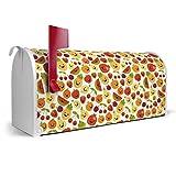 BANJADO US Mailbox/Amerikanischer Briefkasten 51x22x17cm/Letterbox Stahl weiß/mit Motiv Lustiges Obst, Briefkasten:mit silbernem Standfuß