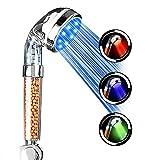 Pomme de Douche à LED 3 Couleurs Filtre de Contrôle de la Température Pommeau de douche, Haute Pression et économie d'eau, spa, double filtre, prévention de la peau sèche et des cheveux