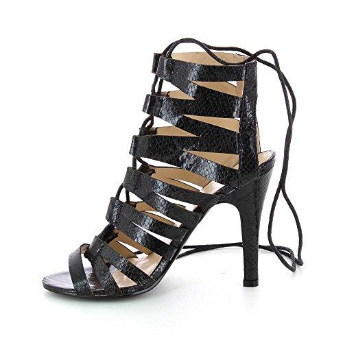 Sandales à talon aspect cuir serpent - Talon 11 cm Noir