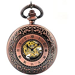 ANNA&JOE Retro flip hollow copper men and women students of mechanical watches pocket watches
