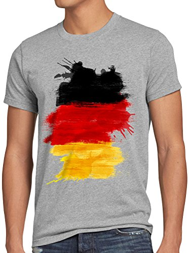 CottonCloud Flagge Deutschland Herren T-Shirt Fußball Sport Germany WM EM Fahne, Größe:L, Farbe:Grau Meliert