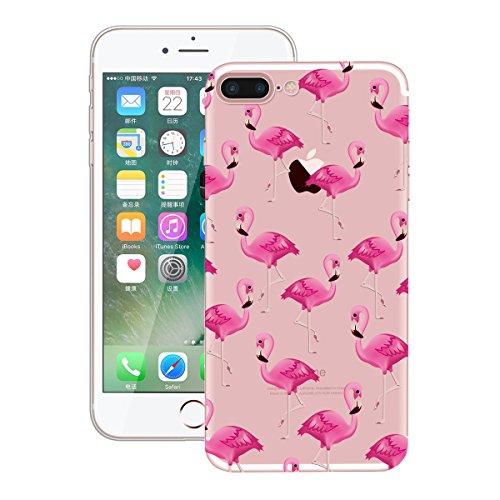 GrandEver iPhone 7 Weiche Silikon Hülle Gel TPU Bumper Transparent Schutzhülle mit Muster Rückschale Klar Handytasche Anti-Kratzer Stoßdämpfung Ultra Slim Rückseite Silicon Backcover für iPhone 7 Soft Rot Flamingos