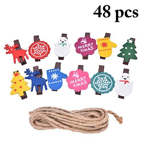 Joyibay Weihnachten Holz Clip Schöne Foto Wäscheklammer Handwerk Wäscheklammer mit Sackleinen String
