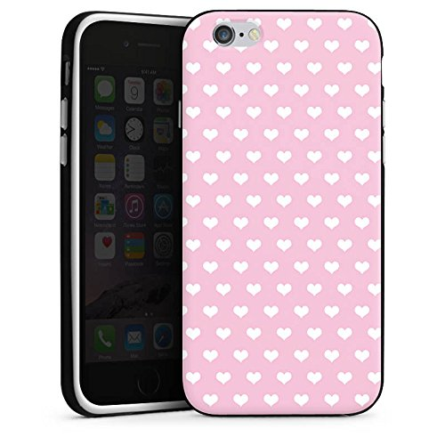 Apple iPhone X Silikon Hülle Case Schutzhülle Polka Herz Rosa Muster Silikon Case schwarz / weiß
