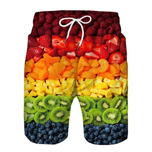 Gusspower_ Herren Badeshorts Badehose in Vielen Farben | 3D Obst Drucken | Bermuda Shorts | Schwimmhose | Grün Badehose für Männer X08 (Herren-unterwäsche Obst)