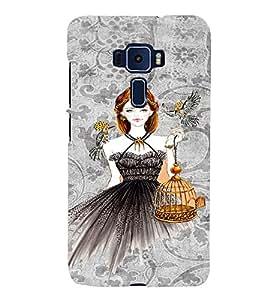 PrintVisa Fashion Bird Girl Dress Design 3D Hard Polycarbonate Designer Back Case Cover for ASUS ZENFONE 3 ZE552KL