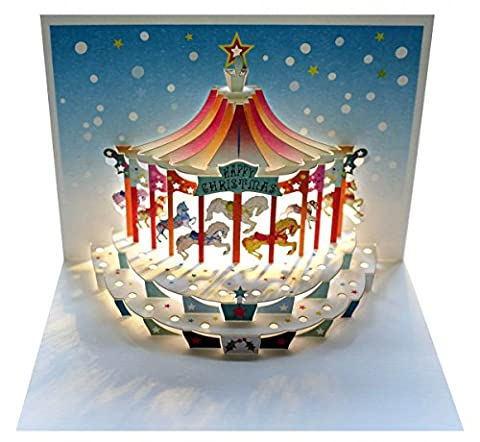 WE Pop Up 3D Karte Weihnachten Grußkarte Kinderkarussel Weihnachtsträume 16x11cm (Englisch Wünsche Für Weihnachten)