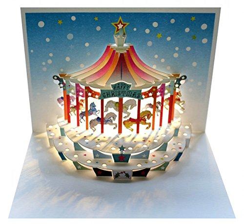 Forever We Pop Up 3D Karte Weihnachten Grußkarte Kinderkarussel Weihnachtsträume 16x11cm