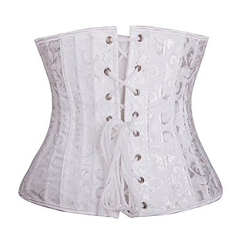 MISS MOLY Damen Corsage Lace-up Trägerlos Unter bust Dessous Korsett Bustier mit G-Schnur Weiß(mit 26 Stahlknochen) #2