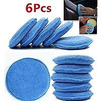 WildAuto - Almohadilla Aplicador De Cera Microfibra - Coche Cera Esponja - Vehículo Herramienta De Limpieza - Azul - 6 Pcs