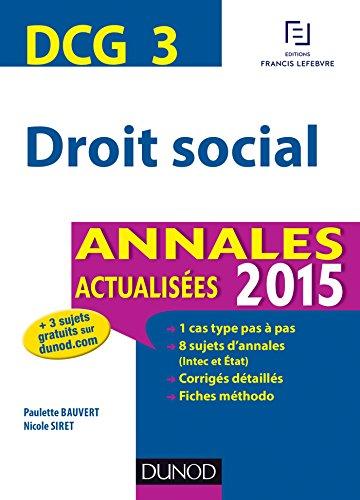 DCG 3 - Droit social - Annales actualises 2015