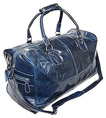 Bleu Glaze peau de vache en cuir véritable week-end , Gym , Fourre-tout Sac bagage (Large)
