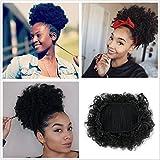 Perruque Afro avec cordon de serrage, cheveux courts et bouclés, synthétiques, queue de cheval bouffante, pour femmes, à porter au quotidien (# 1)