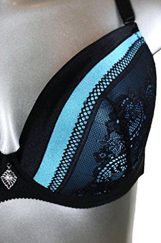 (6386) Doppel Satin-Rand gestickte Spitzen-BH Knicker Set Blau