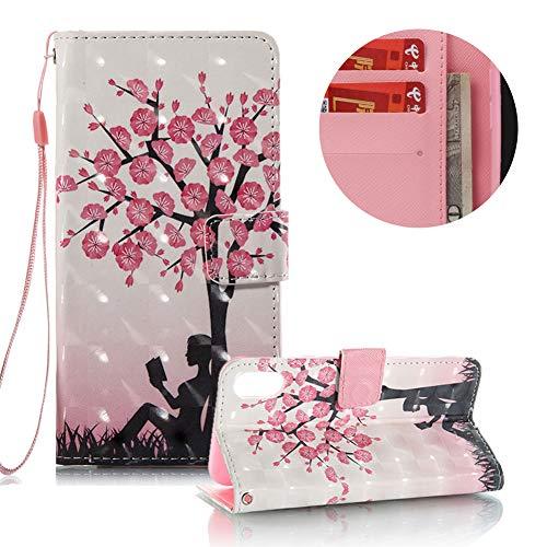 Preisvergleich Produktbild Gurt Lederhülle für iPhone XS, Brieftasche für iPhone X, Moiky Stilvoll Luxuriös 3D Blume Mädchen Muster Ständer Karten Slot PU Leder Etui Hülle