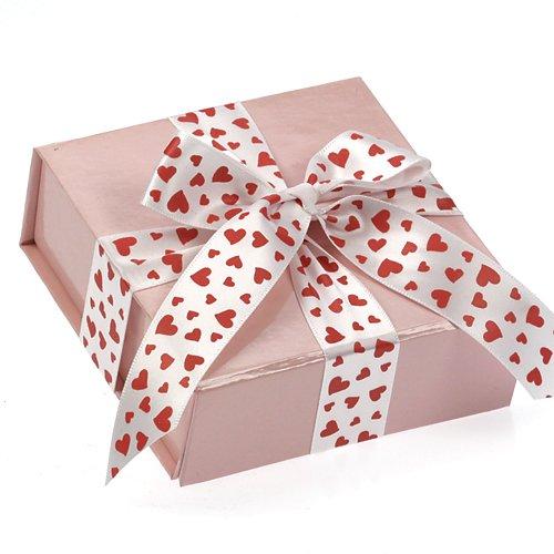 ceco box-lucido rosa Valentine pieghevole/riutilizzabile confezione regalo (10CMX10CMX4CM) con 2,7m di nastro di stampa bianco - Rosa Lucido Gift Box