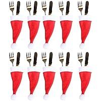 Fangfeen 10pcs de Noël Chapeau Vaisselle Couverts Couverts Porte-Poches cuillère dîner Case Boîte Décoration Fourchette