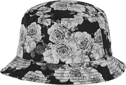 Flexfit Roses Bucket Hat Mützen, Blk/Wht, one size (Hat Schwarze Damen Bucket)