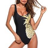 JMETRIC Damen Ananas Print Rundhals Badeanzug Einfarbig Bikini Set(Schwarz,XL)