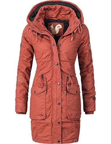 Khujo Damen Mantel Wintermantel Winterparka Baumwollparka YM-Mell (vegan hergestellt) Rot Gr. XXL (Gesteppte Mantel Jacke)