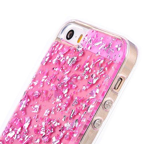 """iPhone 5s Hülle, Kristal Glitzer CLTPY iPhone SE Ultradünne Glänzend Plating TPU Handytasche mit Sparkly Bling Diamant, Weich Stoßdämpfend Silikon Schale Fall für 4.0"""" Apple iPhone 5/5s/SE + 1 x Stift Rose Pink"""